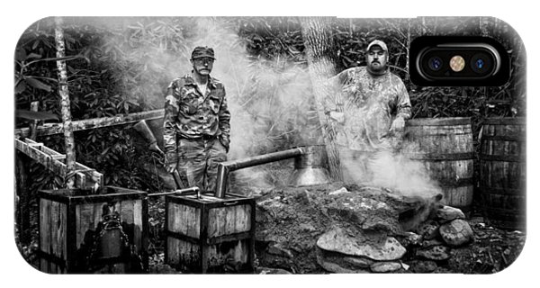 Moonshine Still With Mark And Huck In Black And White IPhone Case