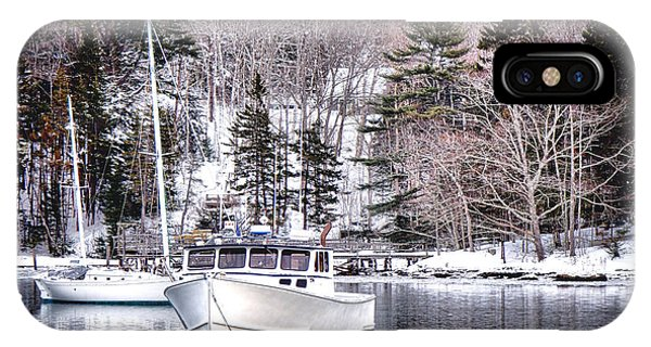 Moored Boats In Maine Winter  IPhone Case