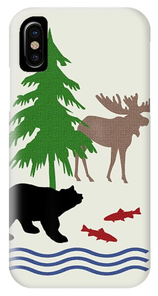 Cabin iPhone Case - Moose And Bear Pattern Art by Christina Rollo