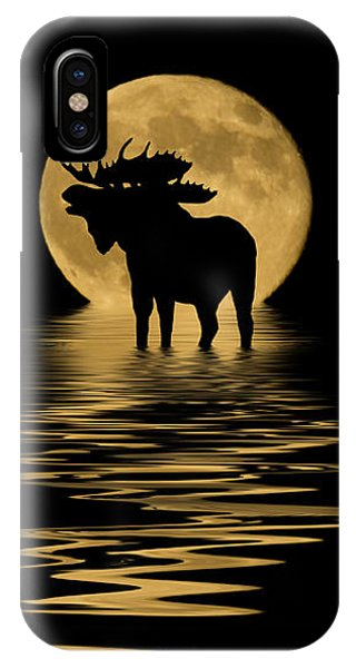 Moose In The Moonlight IPhone Case