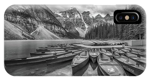 Moraine Lake In Black And White IPhone Case
