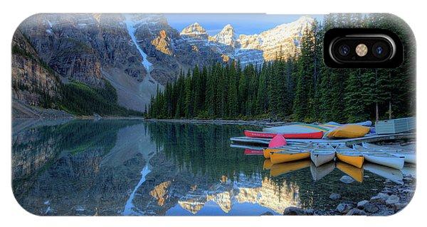 Moraine Lake Sunrise Blue Skies Canoes IPhone Case