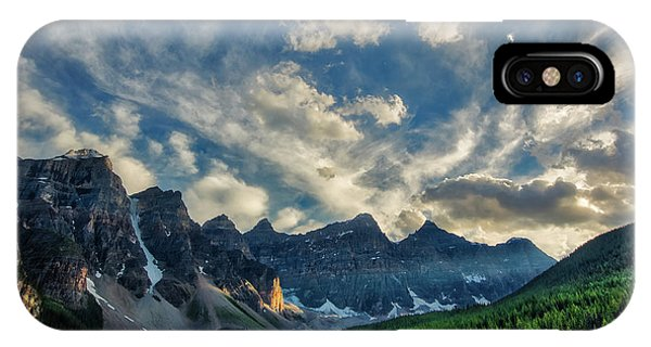 Moraine Lake Sunset - Golden Rays IPhone Case