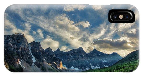 Moraine Lake Sunset - Golden Rays IPhone Case