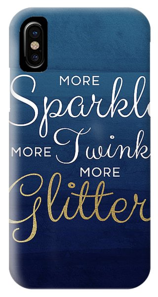 More Sparkle Blue- Art By Linda Woods IPhone Case