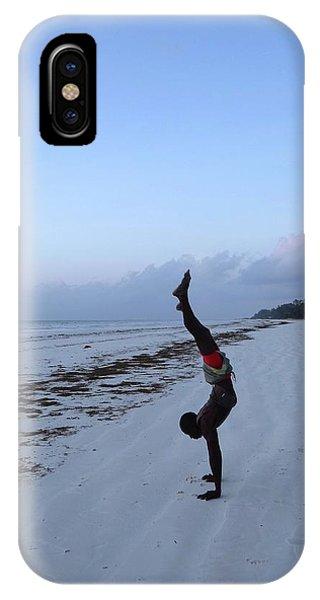 Exploramum iPhone Case - Morning Exercise On The Beach by Exploramum Exploramum