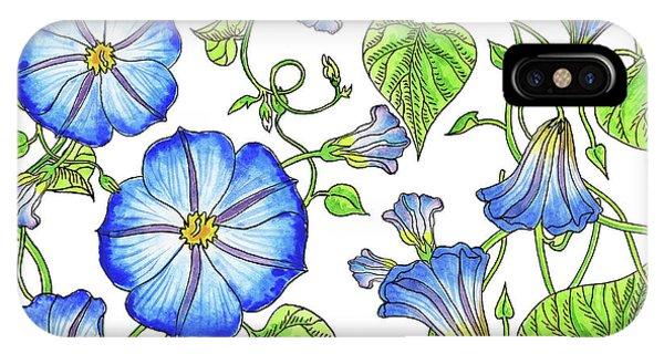 Samantha iPhone Case - Morning Glory Watercolor Pattern by Irina Sztukowski