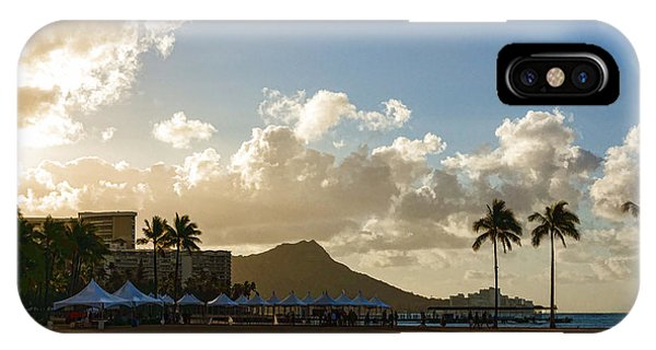 Treeline iPhone Case - Morning Gold In Waikiki - Impressions Of Hawaii by Georgia Mizuleva