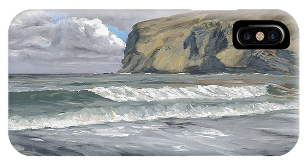 IPhone Case featuring the painting Morning Light On Pencannow Point by Lawrence Dyer