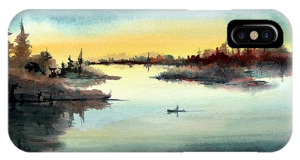 IPhone Case featuring the painting Morning On The Lake by Sam Sidders