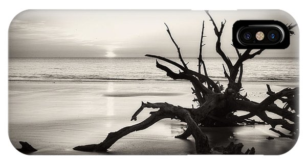 Morning Sun On Driftwood Beach In Black And White IPhone Case