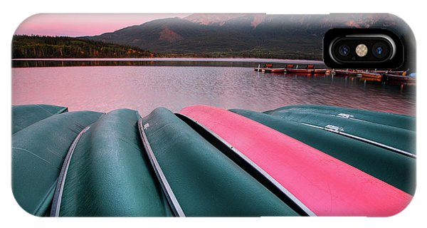 Park Bench iPhone Case - Morning View Of Pyramid Lake In Jasper National Park by Mark Duffy