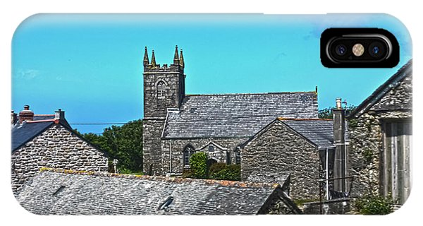 Old Rugged Cross iPhone Case - Morvah Church Through The Rooftops by Terri Waters