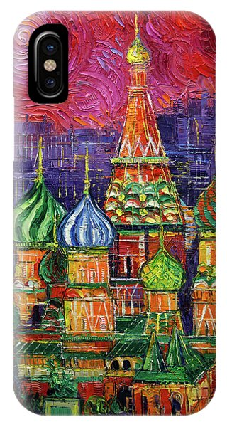 Russian Impressionism iPhone Case - Moscow Saint Basil's Cathedral by Mona Edulesco