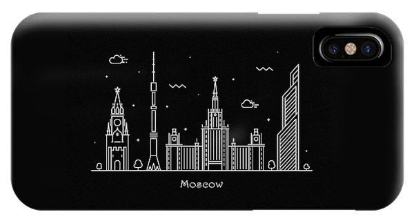 Moscow Skyline iPhone Case - Moscow Skyline Travel Poster by Inspirowl Design