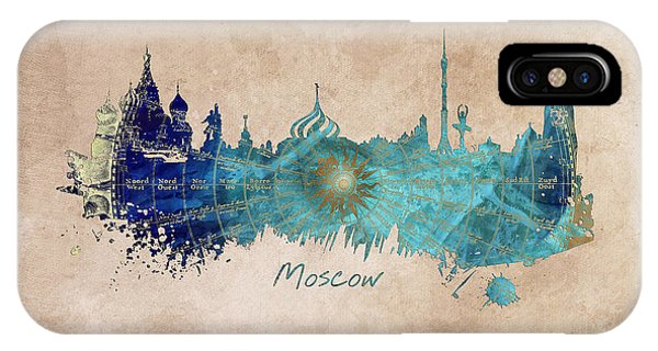 Moscow Skyline Wind Rose IPhone Case