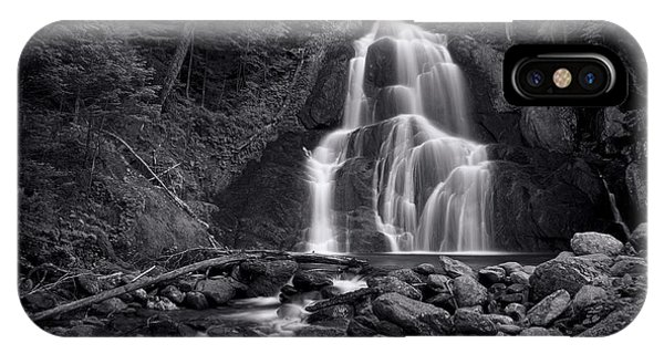 Beauty iPhone Case - Moss Glen Falls - Monochrome by Stephen Stookey