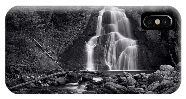 Landscape iPhone Case - Moss Glen Falls - Monochrome by Stephen Stookey