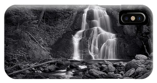 River iPhone Case - Moss Glen Falls - Monochrome by Stephen Stookey