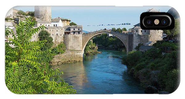 Mostar iPhone Case - Mostar, Bosnia Herzegovina  The Single Arch Stari Most Or Old Bridge. by Ken Welsh
