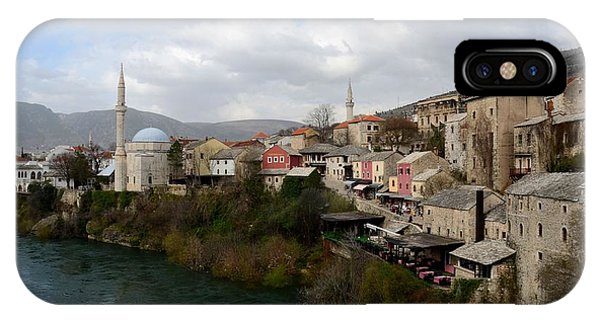 Mostar iPhone Case - Mostar City With Mosque Minaret Medieval Architecture Neretva River Bosnia Herzegovina by Imran Ahmed