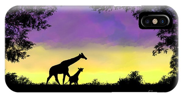 Mother And Baby Giraffe At Sunset IPhone Case