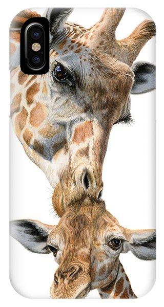 Giraffe iPhone Case - Mother And Baby Giraffe by Sarah Batalka