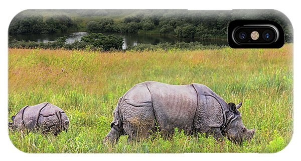Mother And Baby Rhinos IPhone Case
