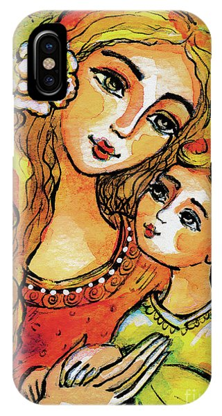 IPhone Case featuring the painting Mother And Child In Yellow by Eva Campbell