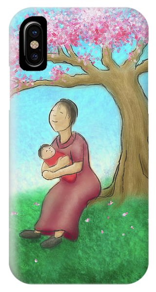 Mother And Child With Cherry Blossoms IPhone Case
