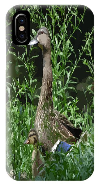 Mother Duck Dry Brush IPhone Case