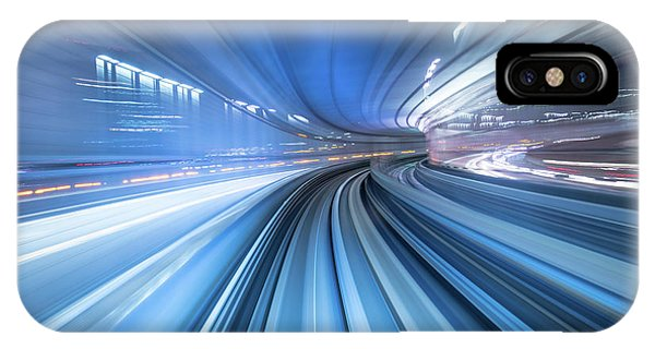 Odaiba iPhone Case - Motion Blur Of Train Moving Inside Tunnel In Tokyo, Japan by Noppakun Wiropart