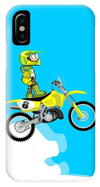 Motocross Rider Standing On His Yellow Motorcycle IPhone Case