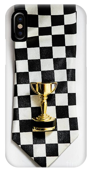 Achievement iPhone Case - Motor Sport Racing Tie And Trophy by Jorgo Photography - Wall Art Gallery