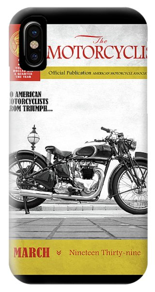 Magazine Cover iPhone Case - Motorcycle Magazine Triumph Speed Twin 1939 by Mark Rogan