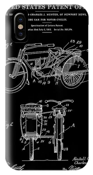 Motorcycle Sidecar Patent 1912 - Black Phone Case by Finlay McNevin