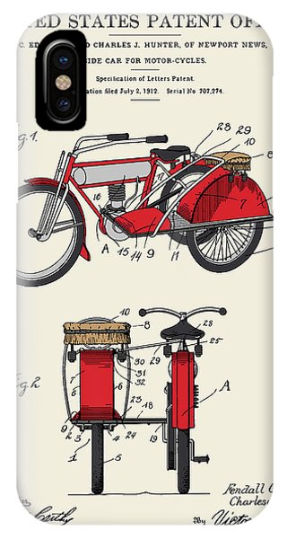 Motorcycle Sidecar Patent 1912 Phone Case by Finlay McNevin