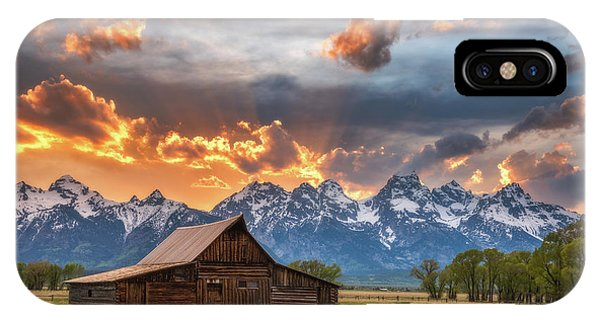 Teton iPhone Case - Moulton Barn Sunset Fire by Darren White