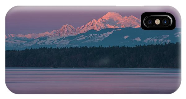 Whidbey iPhone Case - Mount Baker Alpenglow Tranquility by Mike Reid