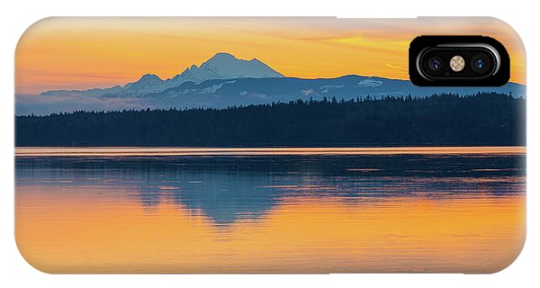 Whidbey iPhone Case - Mount Baker Bay Sunrise Reflection by Mike Reid