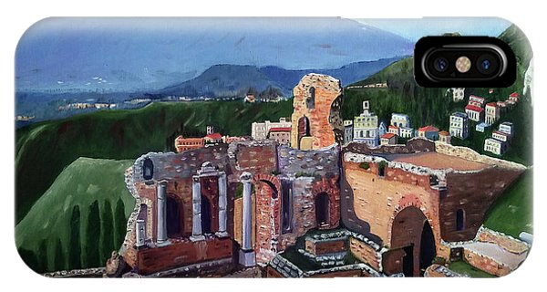 Mount Etna And Greek Theater In Taormina Sicily IPhone Case