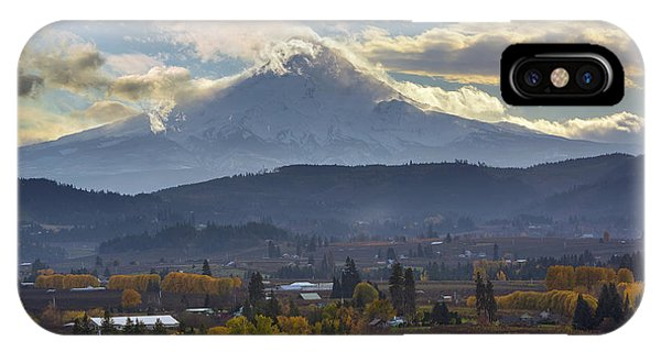 Mount Hood Over Hood River Valley In Fall IPhone Case