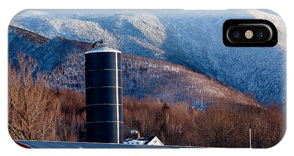 New England Barn iPhone Case - Mount Mansfield And Red Barn 2 by Susan Cole Kelly
