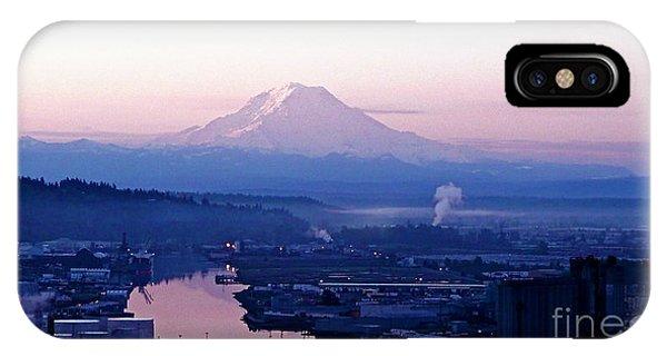 Mount Rainier Dawn Above Port Of Tacoma IPhone Case