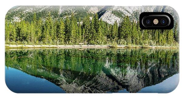 Mount Skogan Reflected In Mount Lorette Ponds, Bow Valley Provin IPhone Case
