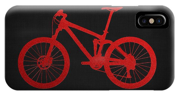 Pop Art iPhone Case - Mountain Bike - Red On Black by Serge Averbukh