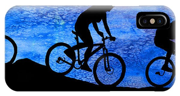 Mountain Bikers At Dusk IPhone Case