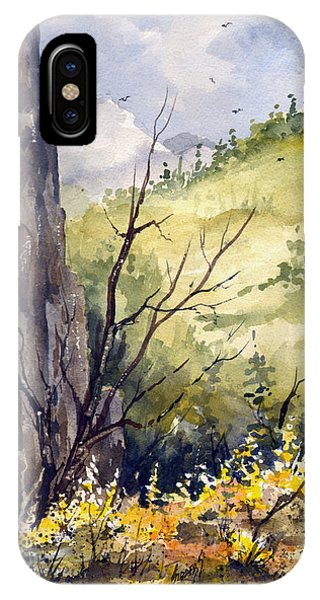 IPhone Case featuring the painting Mountain Landscape by Sam Sidders