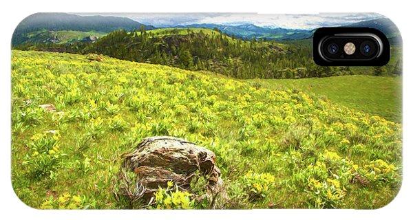 Mountain Meadow Impressionist Digital Art IPhone Case