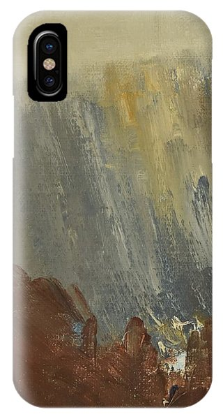 Mountain Side In Autumn Mist. Up To 90x120 Cm IPhone Case